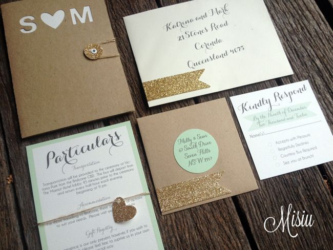 Image of Mint and Glitter Gold Pocket Folder Wedding Invitation Set