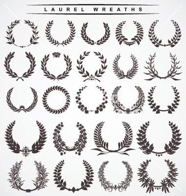 Laurel wreaths with A cursive initial or letter in the middle