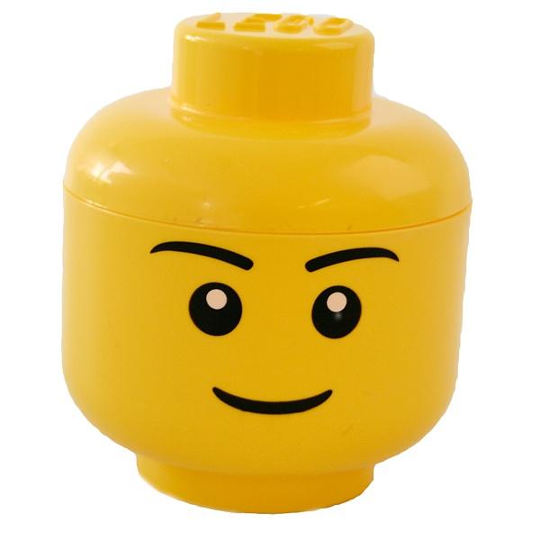 LEGO Opbergdozen: Opberg Hoofd L- Boy - Geel