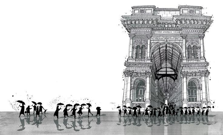 "Galleria Vittorio Emanuele II From "" I am Milan""-Illustration book by Carlo Stanga - Moleskine"