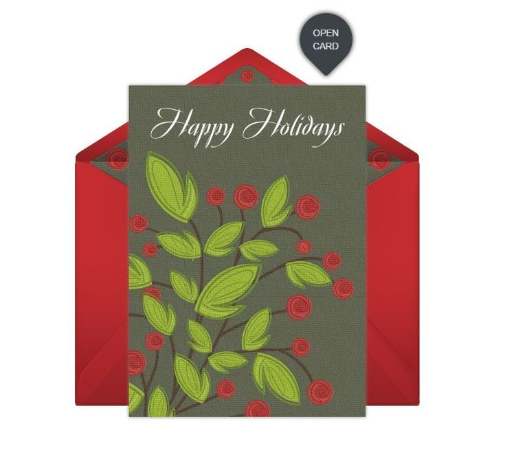 Send These Fabulous and Free Christmas Ecards for Everyone You Know: Holly Branch and Berries by Punchbowl