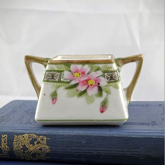 Hand Painted Nippon Pot  Art Deco Rising Sun by LoAndCoVintage
