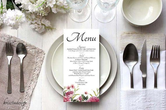 Wedding menu cardFloral menu cardRomantic menu cardDinner