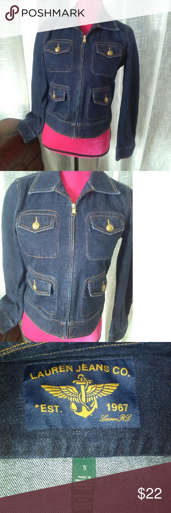 Like New Lauren Jean Co.  Dark Denim Jacket (s) This is a like new dark blue zip up denim jacket,  with gold tone button accents.  This is by Lauren Jean Co.  And is a small.  This is a great addition to anyone's closet!   Thank you for stopping by and looking! Lauren Jeans Co.   Jackets & Coats Jean Jackets