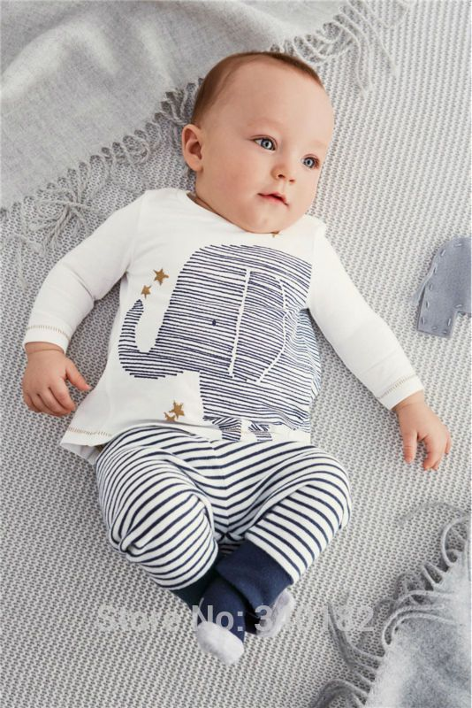 2015 autumn baby boy clothes carters baby clothing baby elephant Long sleeve Tops + Stripe Pants clothing set
