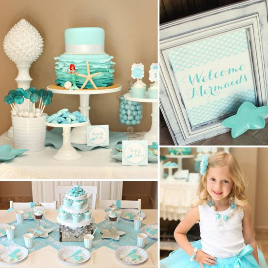 This mermaid bash was full of blue-and-aqua pearl, iridescent accents, a beautiful cake and an appearance by Ariel.