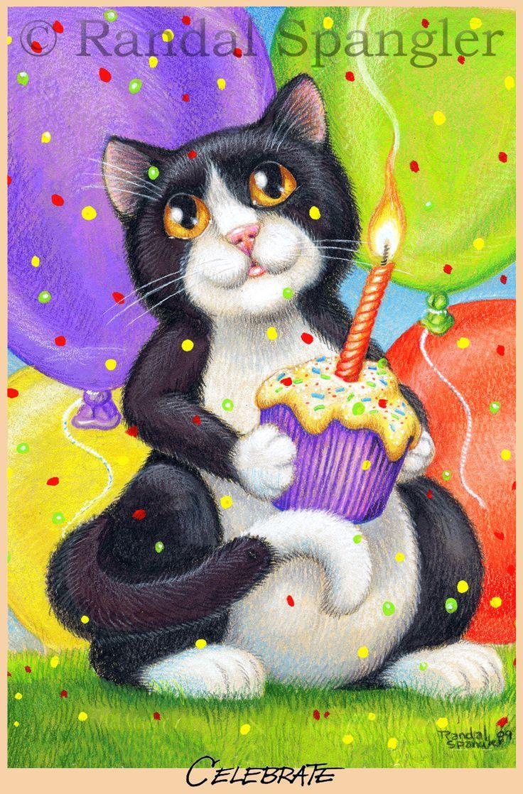 Открытка на день рождения кошки