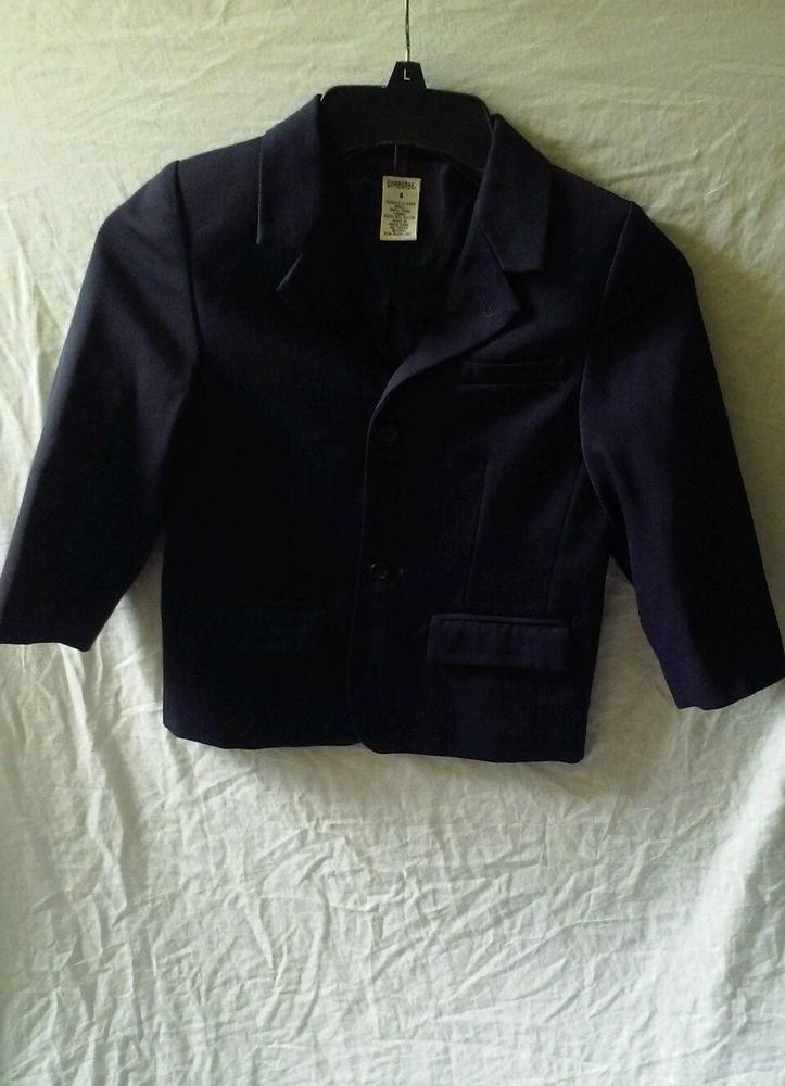 Gymboree Holiday Pictures Navy Blue Wool Church Wedding Blazer Jacket Size 4 #Gymboree #GymboreeKidsBoysBlazerJacketSize4 #BoysChurchBlazerSize4