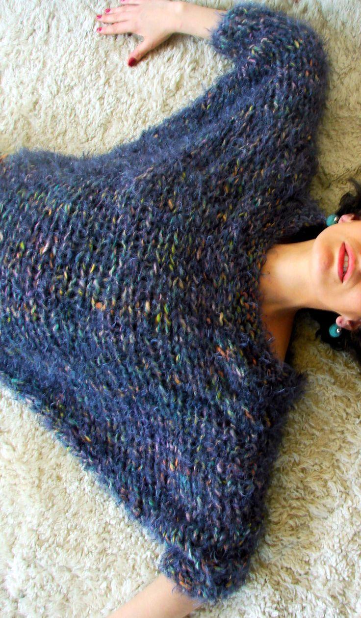 Sweater / tejido a palillo, terminaciones en crochet, algodón, seda, hilos de pelo.