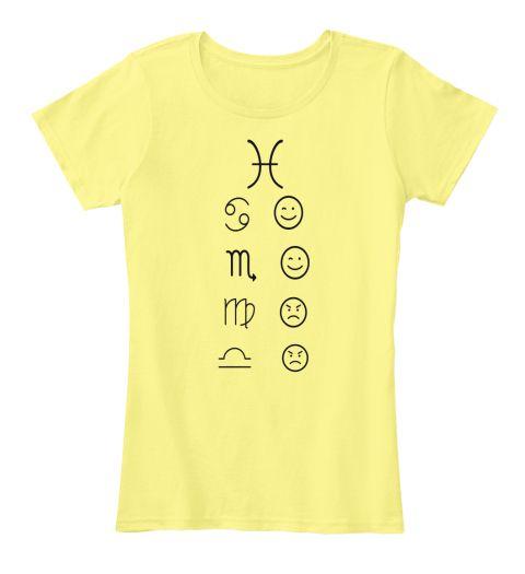 Pisces Love Tees Light Lemon Yellow T-Shirt Front