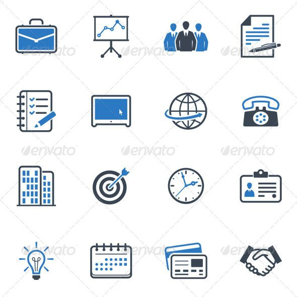 Business and Office Icons -  Blue Series   #GraphicRiver         Set of 16 business and office icons great for presentations, web design, web apps, mobile applications or any type of design projects. The pack contains EPS , AI, PSD , JPEG (4000×4000) and transparent PNG for each icon (256×256 pixels).     Created: 20November12 GraphicsFilesIncluded: PhotoshopPSD #TransparentPNG #JPGImage #VectorEPS #AIIllustrator HighResolution: Yes Layered: No MinimumAdobeCSVersion: CS Tags: briefcase…