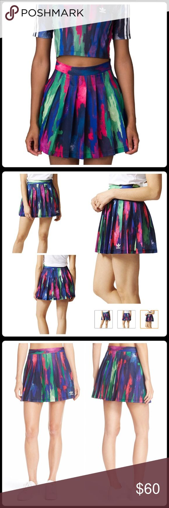 """JUST IN 🆕 'CAMO TREE' PLEATED SKIRT NWT-Rainbow camouflage defines this sporty skirt flared by airy mesh pleats—part of an exuberantly colored collection designed with music mogul Pharrell Williams in celebration of diversity. -16 1/2"""" length -Unlined -1"""