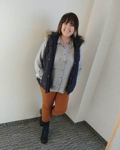 Jacey is ready for this rainy and windy day! I LOVE all of the vests we are getting in, they are perfect for this chilly weather! Love Jacey's look? Shop in store or online at www.maurices.com Button down w/velvet dots: 10471 Fur trimmed puffer vest: 97713 Caramel khaki jeggings: 30517 Roxie faux leather boot: 23690 #maurices #fashion #fashiondiaries #fallfashion #instastyle #ootd #discovermaurices #4074liv #shopping #styleinspiration #musthave | Content shared via Maurice's Inspiration…