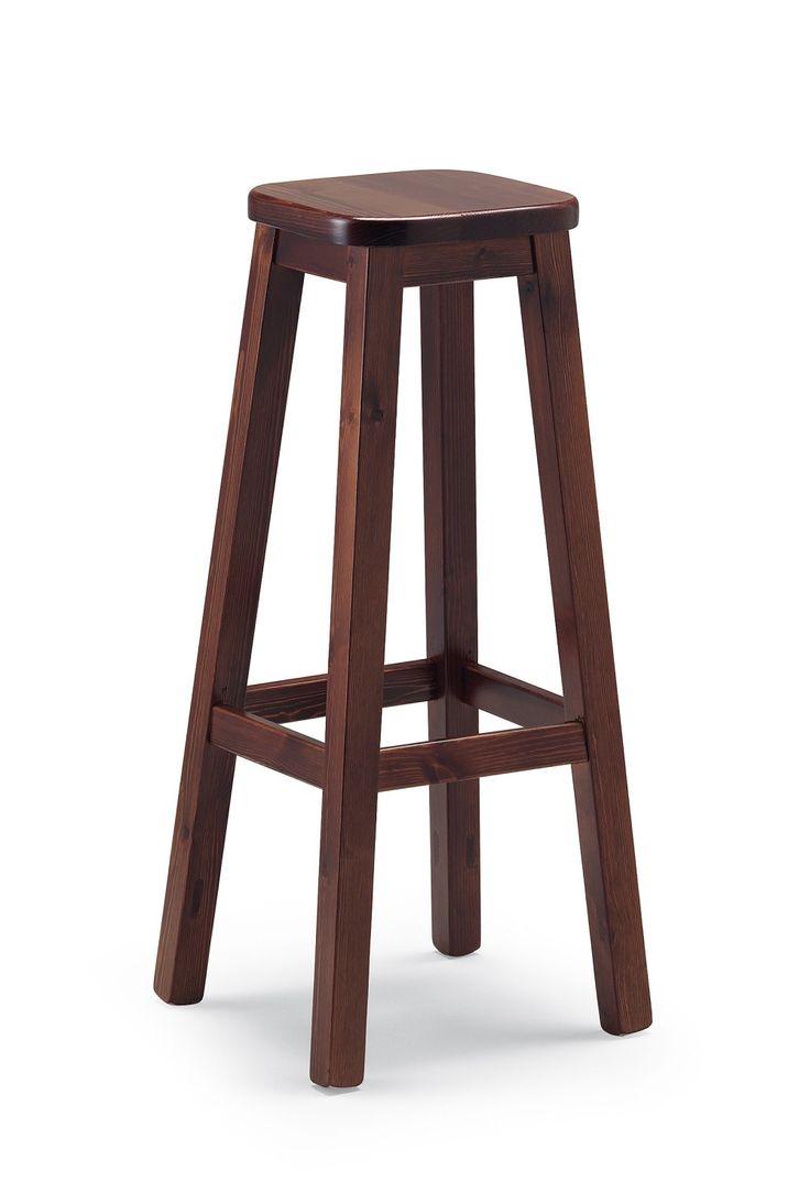 Sgabello bar in legno massiccio alto cm. 80. Produzione e vendita mobili rustici Demar Mobili Pino. #sgabelli #sedie #mobili www.demarmobili.it