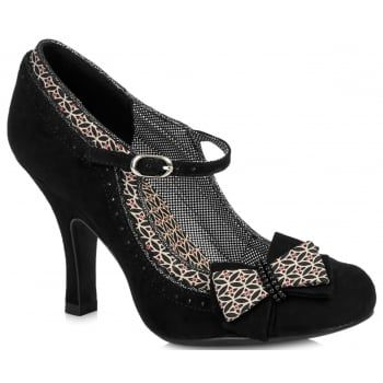 Bar shoe Georgia on the classic Ruby Shoe slim heel is a winter winner! Rich black faux suede is lifted with a dainty geometric print, gunmetal trim, and micro dot lining. The elegant double bow corsage is finished with a twin row of tiny beads for that Ruby Shoo attention to detail that you love. Ruby Shoo Georgia matches perfectly to bag style Montreal. http://www.marshallshoes.co.uk/womens-c2/ruby-shoo-womens-georgia-black-court-shoes-p4052