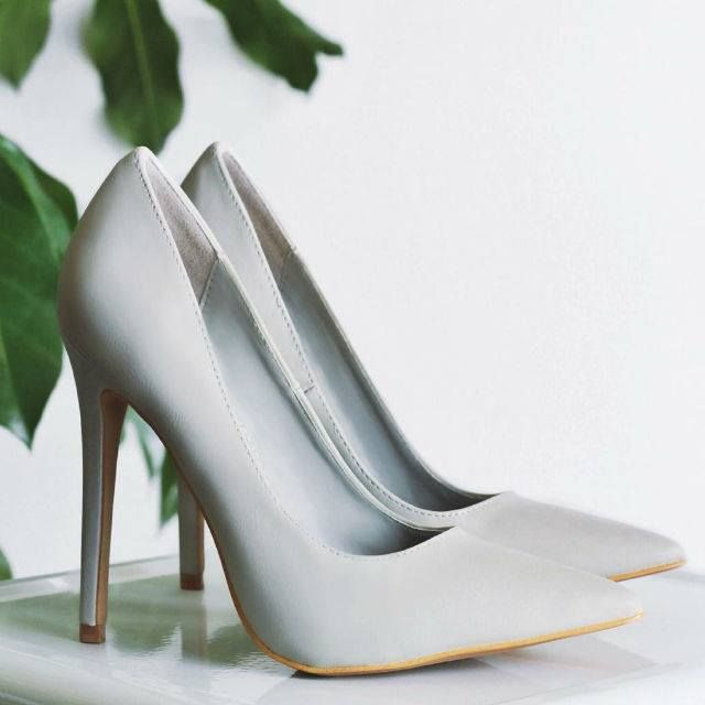 Light Grey Pointed Toe Classic Pumps