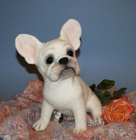 Toy animals, handmade.  Fair Masters - handmade.  Buy French Bulldog Georgette.  Handmade.  White, 100% wool