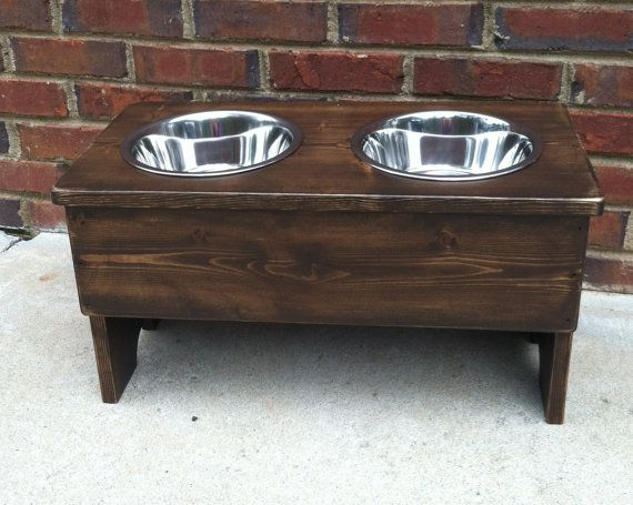Large Raised Dog bowl Shabby Stand 13'' Tall by TurquoiseWoodWorks
