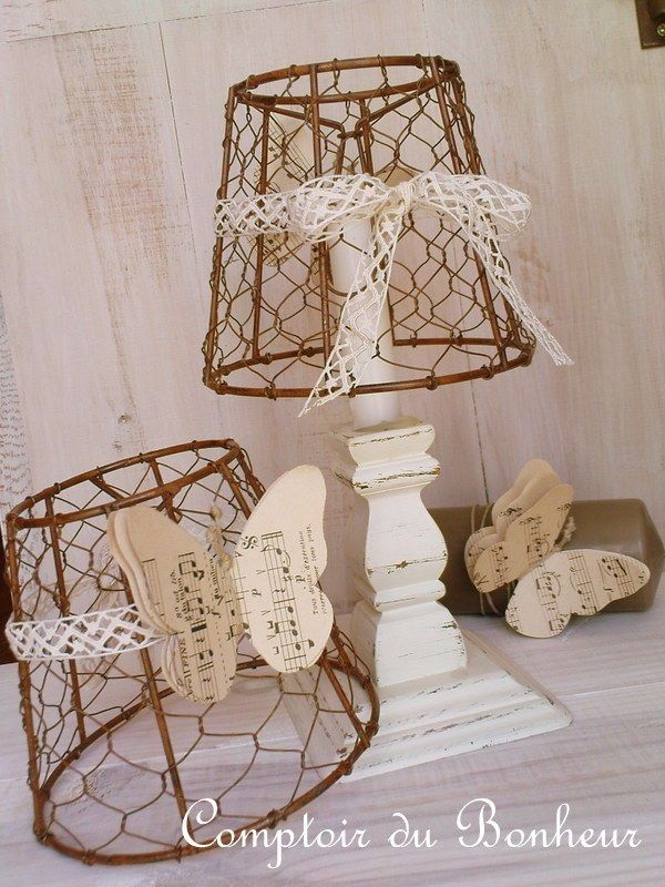 Rustic wire and lace lampshades.