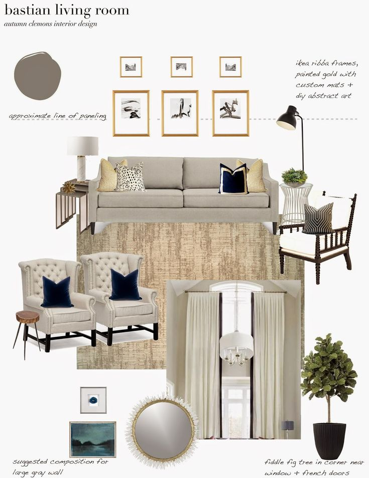 e-design plan for a dramatic, neutral living room. trimmed drapes. fiddle fig tree, neutral rug, abstract art, ikea lamp, west elm marble lamp, metal side tables, crate and barrel mirror, paneling, grey walls. design dump blog. autumn clemons interior design