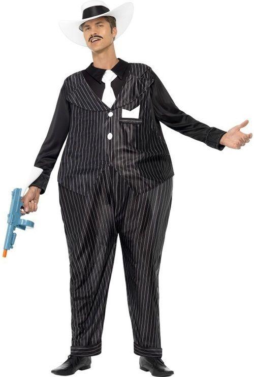Mens Fat Cat Gangster Fancy Dress Costume funny hooped Al Capone Pinstripe  Dapper Gatsby s Italian Mafia 8cca2a063fc8