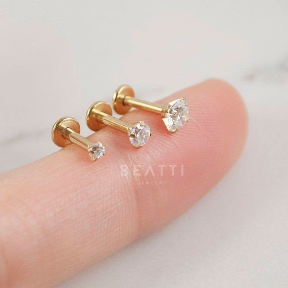 16g Titanium Anodized Tragus Cartilage Barbell With 4mm Gem Ball