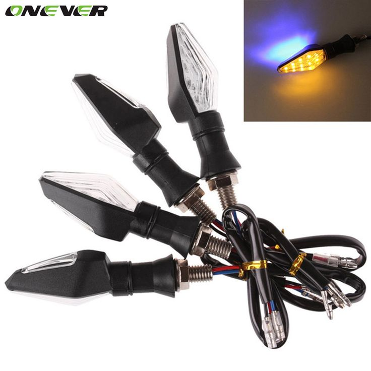 Onever 4 Pcs/Lot Universal 12V Motorcycle Turn Signal Light Amber And Blue Color 12 LED SMD Indicator Blinker Flash Bike Lamp
