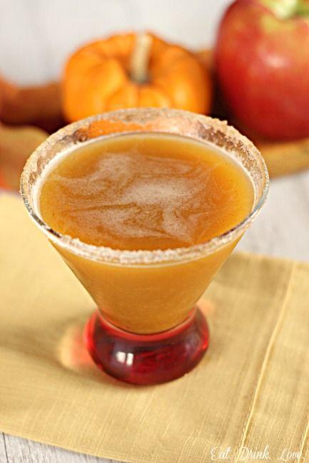 Thanksgiving: Apple Pumpkintini - Ice 1 1/2 ounce pumpkin purée 1 1/2 ounce vanilla vodka 2 ounces apple cider 1 1/2 ounces spicy ginger ale