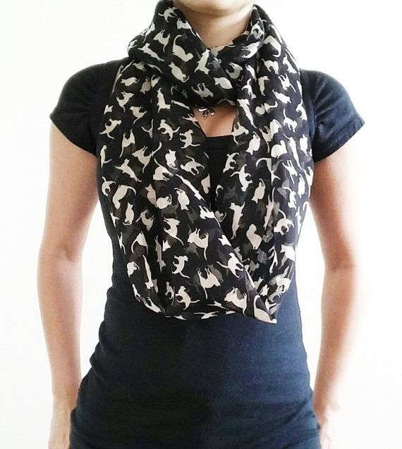Cat Scarf  Infinity Cat Scarf  Loop Cat Scarf  Soft Cat by QWear01