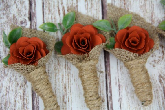 Burnt Orange Boutonniere by Rusticblend on Etsy