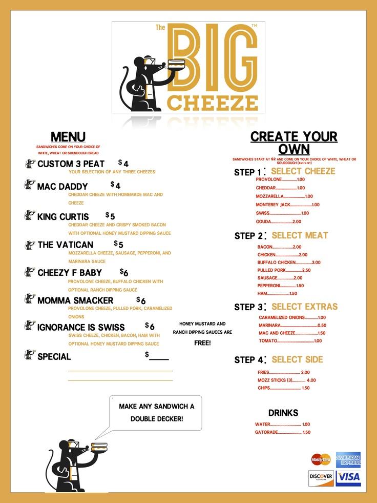 The Big Cheeze food truck menu Food truck menu, Food