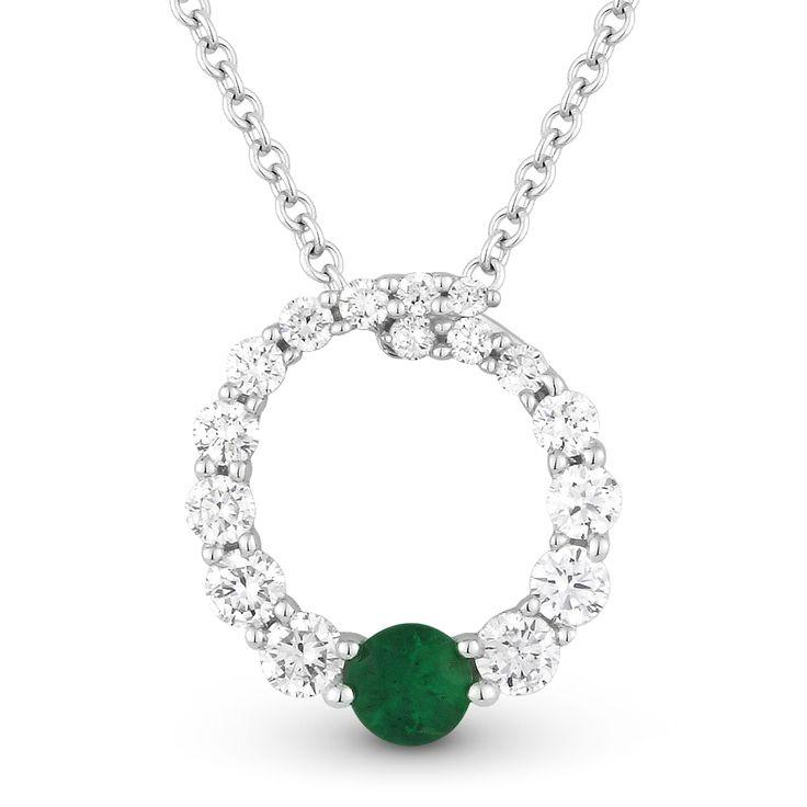0.44ct Emerald & Diamond Journey Circle Eternity Pendant & Chain Necklace in 14k White Gold - AlfredAndVincent.com