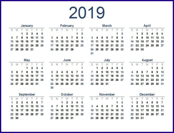 2019 Calendar Template Word Calendar 2019 Template 2019 Calendar 2019 Yearly Calendar Template