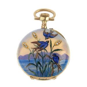 LOT: 623 | Dáma je brzy 20. století zlato diamant a smaltované kapesní hodinky.