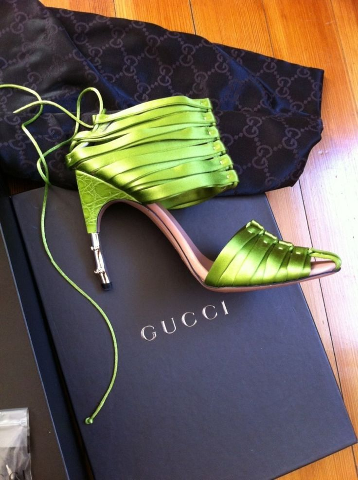 $975 GUCCI HEELS @Michelle Coleman-HERS -- impossible to find these in brand new condition by Tom Ford. Signature Bamboo Heels and Amazing GREEN color... lovely