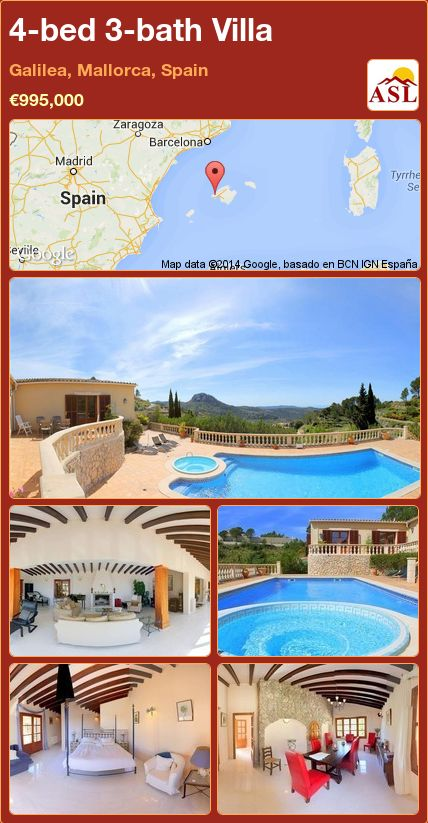 4-bed 3-bath Villa in Galilea, Mallorca, Spain ►€995,000 #PropertyForSaleInSpain