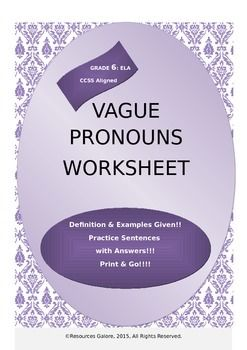 An Easy Grammar Lesson on a Challenging Concept!!!This is a great product for teaching students how to avoid using vague pronouns in sentences. It aligns with Grade 6 English Language Arts- Literacy -Common Core Standards (6.1.d). A clear description of what a vague pronoun is in a sentence and three different ways in which vague pronouns could be avoided are given with examples.