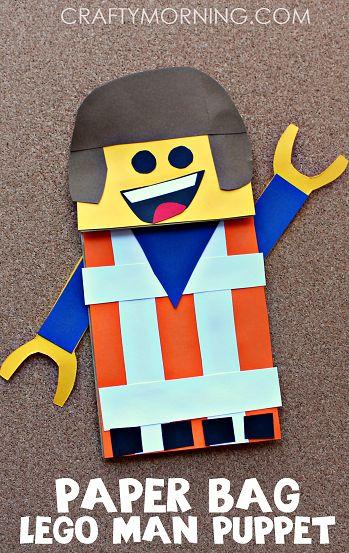 Paper Bag Lego Man Puppet Craft for Kids - Crafty Morning