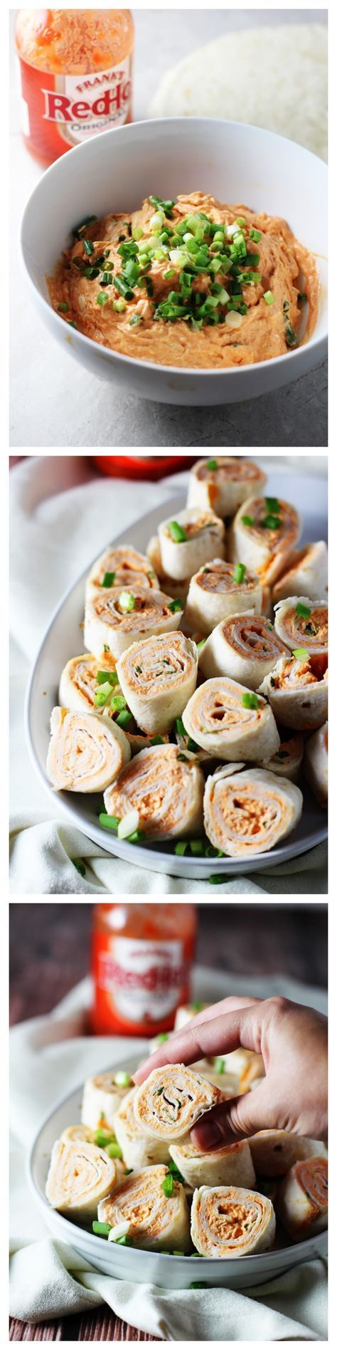 GREAT lunch. I used 1 small can of chicken WELL drained and half of the other ingredients to cover one large Burrito size tortilla. Five Ingredient Buffalo Chicken Roll Ups (cream cheese, Franks Red Hot sauce, green onions, flour tortills) / cookingforkeeps.com