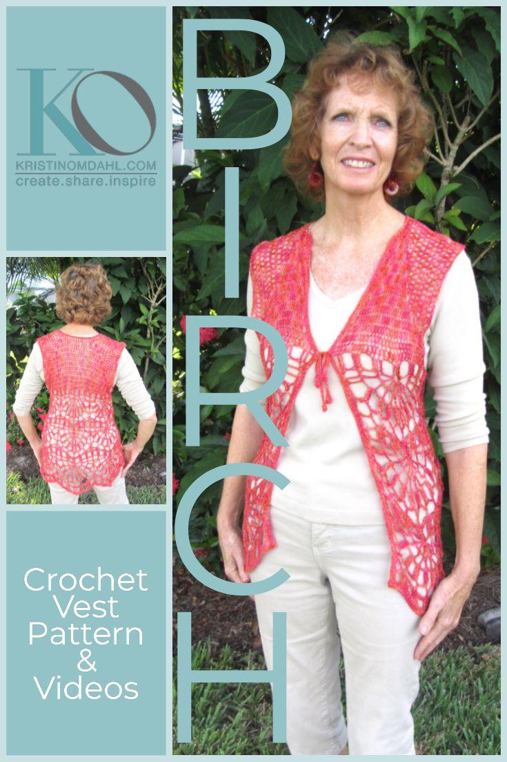 Jun 17 Fine Birch Vest Crochet Free Pattern Crochet Vests