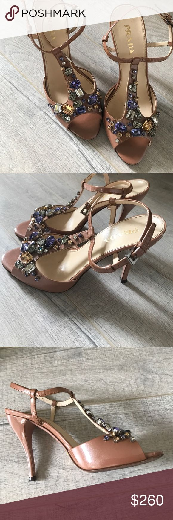 Prada high heels sandals with stones Prada beige high heels sandals Prada Shoes Heels