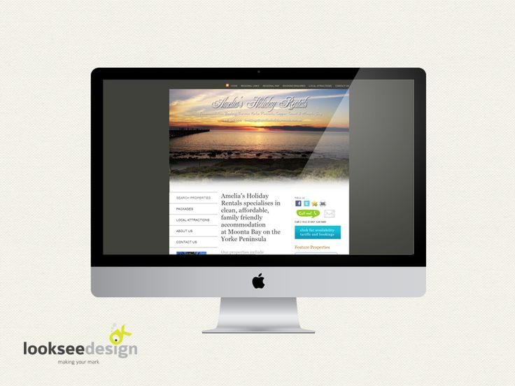 Amelias Holiday Rentals Website Designed By Looksee Design