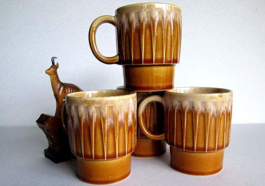 Vintage Stacking Mugs, Glazed Pottery Mugs, Brown Pottery Mugs, Set of 4 Brown Mugs Marked Japan, Vintage Coffee Cups, Glazed Pottery Mugs