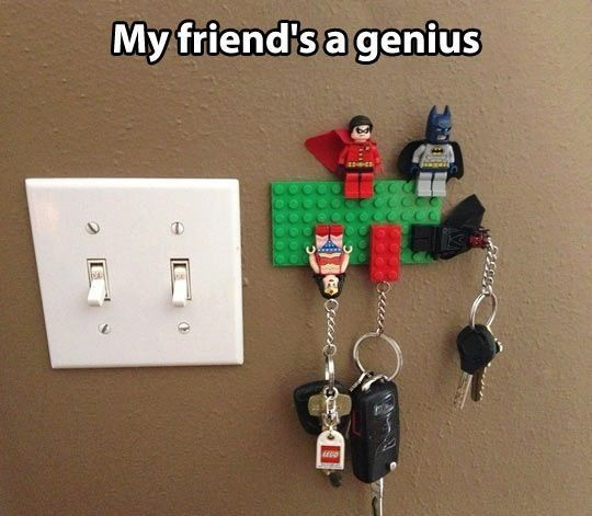 DIY Life Hacks & Crafts : Lego key holders  https://diypick.com/lifehacks/diy-life-hacks-crafts-lego-key-holders/