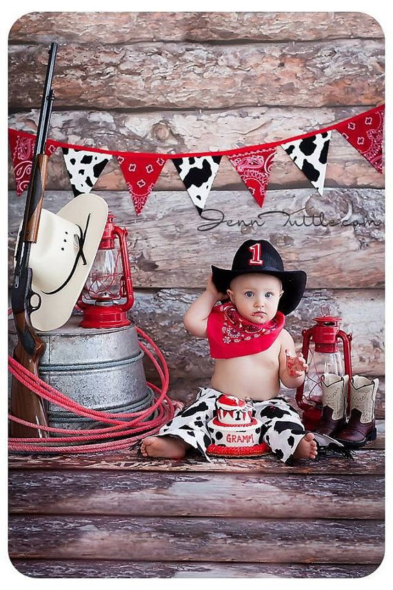 Cowboy Birthday Outfit Party Set in Cow Hide Diaper Cover Chaps Red Bandana  and Cowboy Hat Cake Smash outfit  5001a35a24ee