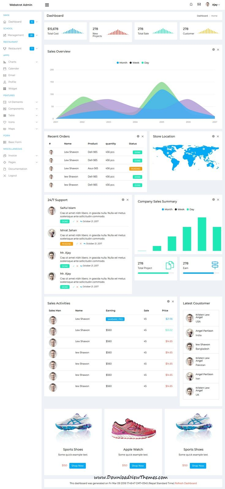 Webstrot is clean and modern design 10+ responsive bootstrap #dashboard template for custom #admin panels, CMS, CRM, SaaS, and web applications website in dark and light versions to live preview & download click on image or Visit  #admintemplate #admintheme