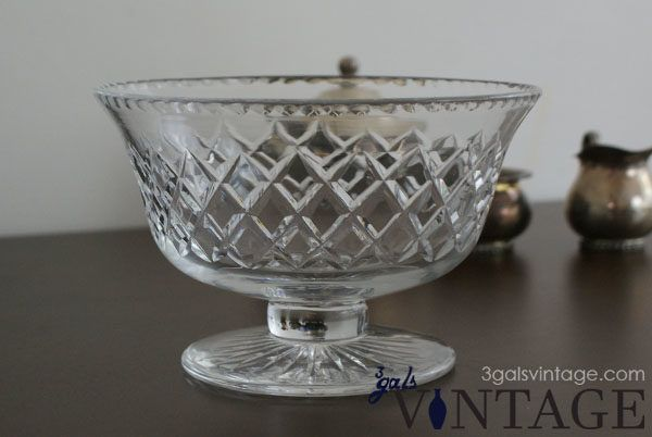 Vintage Royal Brierley Lead Crystal Bowl with Pedestal Foot, Cut Diamond Pattern - Front View. $65.00