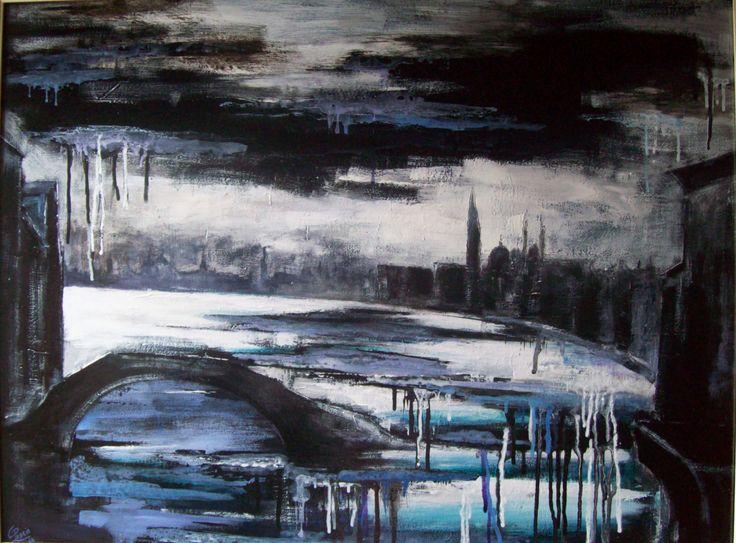 """"""" Ho sognato il Ponte Ca' di Dio...terminava nell'acqua """" . 2010 . Smalti e acrilici su tavola, cm 60 x 80."""