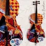Hand Painted 4/4 Cello by artist Julie Borden Dog Lovers
