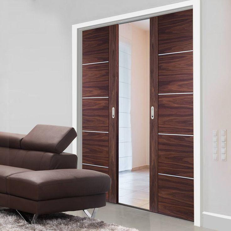 Double Pocket Portici Walnut Flush Door with Aluminium Inlay Prefinished & 77 best Flush Pocket Door Pairs images on Pinterest | Pocket doors ... Pezcame.Com